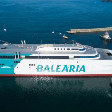 El primer fast ferry con motores a gas natural de Baleària operará desde abril la ruta entre Denia, Ibiza y Palma